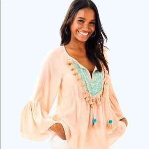 Lilly Pulitzer Shandy Top Sandstone XS NWOT